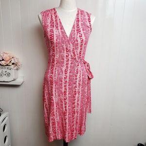 DVF Pink Sleeveless Wrap Dress Sz 6